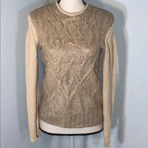 Narcisco Rodriguez Cream&Rose Gold Accent Sweater